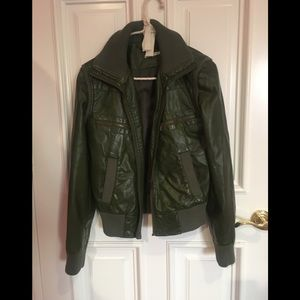 army green patent leather jacket